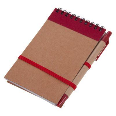 Notatnik z długopisem, czerwony, formatu a6