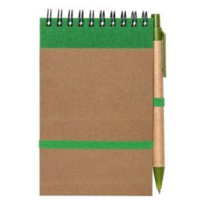 Notatnik z długopisem, zielony, formatu a6